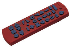 Photograph of a red remote control
