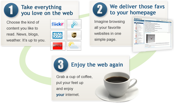 We take everything you love and put it on your homepage so you can enjoy the web again.