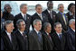 President George W. Bush is joined by fellow leaders of the Americas as they pose for their 2005 class photo Friday, Nov. 4, 2005, during the opening ceremonies in Mar del Plata, Argentina, of the 2005 Summit of the Americas. White House photo by Paul Morse
