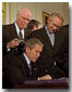 "President George W. Bush signs the Patriot Act, Anti-Terrorism Legislation, in the East Room Oct. 26.  ""With my signature,  this law will give intelligence and law enforcement officials important new tools to fight a present danger,"" said the President in his remarks."