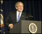 President George W. Bush addresses his remarks to an audience attending the National Newspaper Association Government Affairs Conference, Friday, March 10, 2006 at the Wyndham Washington Hotel.  White House photo by Eric Draper