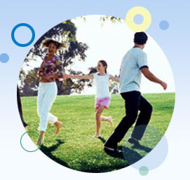 Image of family playing and being physically active