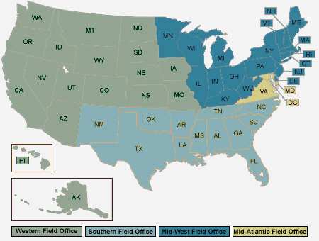 Map of the United States color coded by the four jurisdictions of the four OMHA field offices.