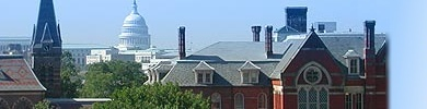 Gallaudet's Chapel Hall with U.S. Capitol dome in background