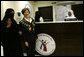Mrs. Laura Bush talks with Dr. Huda Abdulkareem, Head of the Hematology/Oncology Unit at King Khalid University Hospital, at the Abdullatif Cancer Screening Center Tuesday, Oct. 23, 2007, in Riyadh. White House photo by Shealah Craighead