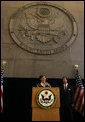 Mrs. Laura Bush addresses U.S. embassy staff Tuesday, Oct. 23, 2007, during her visit to Riyadh, Saudia Arabia. White House photo by Shealah Craighead