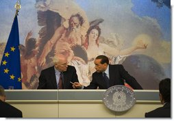 """Vice President Dick Cheney and Prime Minister of Italy Silvio Berlusconi hold a news conference Tuesday, Sept. 9, 2008 following their meetings at the Piazza Colonna in Rome. Said the Vice President, """"In addition to our excellent cooperation on key global security issues, our governments are working closely with Italians to enhance the economic relationship between our two countries. We have much on our common agenda. There is a great deal more we can and will do to add to the prosperity of our nations, to strengthen our common security, and to bring greater peace to the world.""""  White House photo by David Bohrer"""