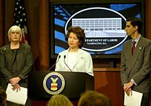 Secretary Chao announcing the DOL lawsuit against Enron Corporation.
