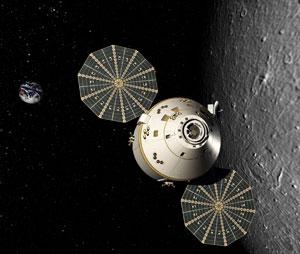 Orion crew vehicle in lunar orbit