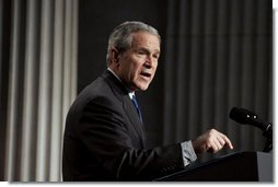 """President George W. Bush delivers remarks on the economy on Wall Street in New York City Wednesday, Jan. 31, 2007. """"When people across the world look at America's economy what they see is low inflation, low unemployment, and the fastest growth of any major industrialized nation,"""" said the President. """"The entrepreneurial spirit is alive and well in the United States.""""  White House photo by Paul Morse"""