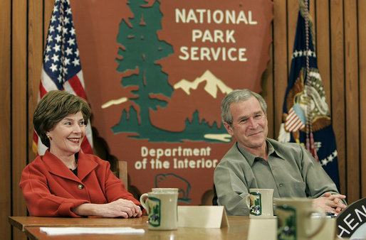 President George W. Bush and Mrs. Laura Bush participate in a roundtable discussion about his National Parks Centennial Initiative during a visit to Shenandoah National Park in Luray, Va., with Mrs. Laura Bush and Interior Secretary Dirk Kempthorne Wednesday, Feb. 7, 2007. White House photo by Paul Morse