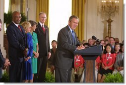 President George W. Bush addresses education leaders during his remarks on Education Implementation in the East Room at the White House Wednesday, Sept. 4. In his first year in office, the No Child Left Behind Act of 2001 was passed with an overwhelming majority in both houses of Congress. Today state and local schools were recognized for their efforts in implementing the act. White House photo by Paul Morse.
