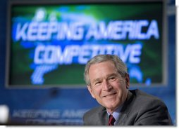President George W. Bush participates in a Panel on the American Competitiveness Initiative at Cisco Systems, Inc in San Jose, California, Friday, April 21, 2006. White House photo by Eric Draper