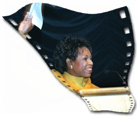 Picture of a women overlaid on a film strip.