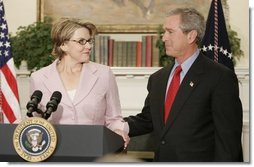Margaret Spellings, Assistant to the President for Domestic Policy, makes remarks after being nominated to the position of Secretary of Education by President George W. Bush during a ceremony in the Roosevelt Room at the White House on November 16, 2004.  White House photo by Paul Morse