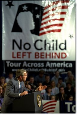 President Bush delivers remarks on Education Accountability at Logan High School in La Crosse, Wisconsin. May 8, 2002. White House photo by Tina Hager.