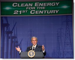 """President George W. Bush delivers his remarks on energy initiatives following his tour of the Browns Ferry Nuclear Plant in Athens, Ala., Thursday, June 21, 2007. Speaking about the energy needs of the nation President Bush said, """"Nuclear power is America's third leading source of electricity. It provides nearly 20 percent of our country's electricity. Nuclear power is clean. It's clean, domestic energy."""" White House photo by Chris Greenberg"""