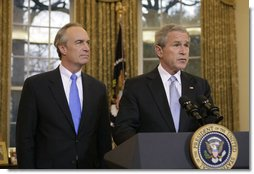 With Gov. Dirk Kempthorne at his side Thursday, March 16, 2006 in the Oval Office, President George W. Bush announces his intention to nominate the Governor to be Secretary of the Interior. White House photo by Paul Morse