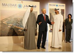 """President George W. Bush comments to the media as he tours the Masdar Exhibition Monday, Jan. 14, 2008, at the Emirates Palace Hotel. Said the President, """"I hope that my visit shines a spotlight on the Middle East, the opportunities to work constructively with our friends and allies, and shows people the truth about what life is like here in the UAE. This is a remarkable place. Its architecture is beautiful. But the can-do spirit is amazing."""" White House photo by Eric Draper"""