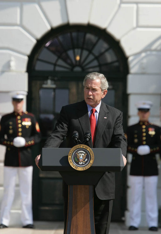President George W. Bush delivers remarks during Military Spouse Day Tuesday, May 6, 2008, at the White House. Begun in 1984, the day was established to acknowledge the profound impact military spouses have on service members and to honor their volunteer service in educational, social and community endeavors. White House photo by Chris Greenberg