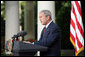 President George W. Bush delivers his statement on the escalating Russian violence in Georgia Monday, Aug. 11, 2008, in the Rose Garden of the White House. President Bush pressed Russia to accept an immediate cease-fire and to pull back its troops. White House photo by Luke Sharrett