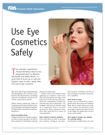 Cover page of PDF version of this article, including photo a woman carefully applying eye cosmetics in a bathroom mirror.
