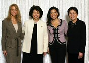 Secretary of Labor Elaine L. Chao (2nd from left) is joined by Kellyanne Conway (left), President and CEO of WomanTrend; Andrea Wong (2nd from right), Executive Vice President for Alternative Programming, Specials and Late Night, ABC Entertainment; and Shinae Chun (right), Director of the Department of Labor's Women's Bureau. (DOL Photo/Neshan Naltchayan)