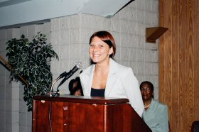 WWIT graduate Stephanie Drake speaks at the Hope Center graduation ceremony. (Women's Bureau photo)