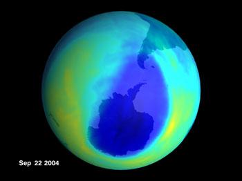 Ozone hole for 2004