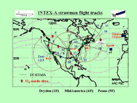 This graphic shows the flight tracks that will be taken during the INTEX mission over the U.S. and the North Atlantic.