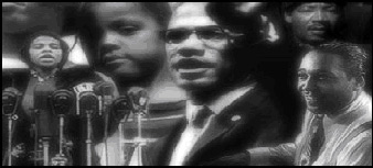 Montage of African-American faces including Malcolm X, Duke Ellington, a women in front of a podium of microphones, and a young girl