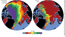 February ice age distribution in the Arctic during normal conditions 1985 through 2000 average.  Right: February 2008 Arctic ice age distribution.