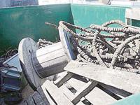 Marine debris in dumpster.