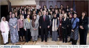 President George W. Bush meets with participants of the U.S. Middle East Partnership Initiative Thursday, Oct. 23, 2008, in the Eisenhower Executive Office Building. The participants include approximately 50 women political leaders from the Mideast and North Africa, who are given the opportunity to learn from our country's experience in electoral campaigning and affords them a chance to witness local and Presidential elections up close.  White House photo by Eric Draper