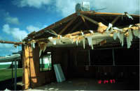 End of classroom building, remaining roof truss and wall system