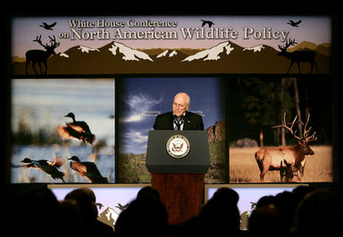 Vice President Dick Cheney addresses the White House Conference on North American Wildlife Policy Friday, Oct. 3, 2008 in Reno. Bringing together a wide range of conservationists, government officials, sportsmen and Congressional representatives, the conference provides a framework for participants to discuss topics on wildlife management, conserving and managing natural habitats, energy development, climate change and opportunities for hunting on public lands. White House photo by David Bohrer