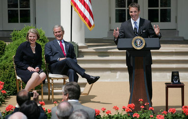 "President George W. Bush and Secretary Margaret Spellings of the Department of Education, laugh as they listen to remarks by Mike Geisen, the 2008 National Teacher of the Year. Said the 35-year-old, 7th-grade science teacher from Prineville, Ore., ""Each of the teachers that sits here today amongst us is here today because of their commitment and their courage to live in light of this fact: Children are fully human beings. Children are fully human beings. They're not conglomerations of hormones, they're not animals to be trained, they're not just numbers to be measured or future commodities to produce. They are our equals. They're the here and the now. And they are beautiful."" White House photo by Shealah Craighead"