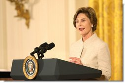Mrs. Laura Bush addresses her remarks Monday evening, Oct. 27, 2008 in the East Room of the White House, during a celebration in honor of the 150th birthday and contributions of President Theodore Roosevelt. White House photo by Chris Greenberg