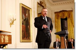 Theodore Roosevelt impersonator Joe Wiegand performs Monday evening, Oct. 27, 2008 in the East Room of the White House, during a celebration of the 150th birthday of Theodore Roosevelt, 26th President of the United States. White House photo by Chris Greenberg