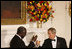 President George W. Bush and President John Agyekum Kufuor of Ghana tip their glasses in a toast during a White House State Dinner Monday, Sept. 15, 2008, in honor of President Kufuor and Mrs. Theresa Kufuor.