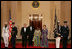 President George W. Bush and Mrs. Laura Bush pose with President John Agyekum Kufuor of Ghana and Mrs. Theresa Kufuor after their arrival at the White House Monday, Sept. 15, 2008, for a State Dinner.