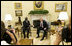 President George W. Bush and President John Agyekum Kufuor of Ghana pause for photos in the Oval Office prior to their meeting Monday, Sept. 15, 2008, at the White House.