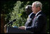 President George W. Bush delivers remarks during a joint statement with President John Agyekum Kufuor of Ghana Monday, Sept. 15, 2008, in the Rose Garden of the White House.