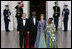 President George W. Bush and Mrs. Laura Bush welcome President John Agyekum Kufuor and Mrs. Theresa Kufuor of Ghana Monday, Sept. 15, 2008, upon their arrival to the North Portico of the White House for a State Dinner in their honor.