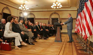 "President George W. Bush speaks during a briefing on comprehensive immigration reform Tuesday, June 26, 2007, in the Eisenhower Executive Office Building. Said the President, ""The first thing that we've got to recognize in the country is that the system isn't working. The immigration system needs reform. The status quo is unacceptable."" White House photo by Joyce N. Boghosian"