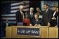 Visiting Hamilton High School in Hamilton, Ohio, Jan. 8, President George W. Bush signs into law historic, bi-partisan education legislation. On hand for the signing are Democratic Rep. George Miller of California (far left), Democratic U.S. Sen. Edward Kennedy of Massachusetts (center, left), Secretary of Education Rod Paige (center, behind President Bush), Republican Rep. John Boehner of Ohio, and Republican Sen. Judd Gregg of New Hampshire (not pictured). White House photo by Paul Morse.