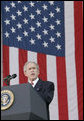 President George W. Bush addresses the Veteran's Day ceremonies Saturday, Nov. 11, 2006, at Arlington National Cemetery in Arlington, Va. White House photo by Kimberlee Hewitt