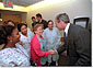 President Bush greets some of the staff and patients at Inova Fairfax Hospital July 3, 2001. The President and Mrs. Bush were at the hospital visiting Desiree and Stephen Sayle, who were celebrating the birth of their second daughter, Vivienne. White House photo by Eric Draper.