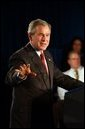 Discussing Medicare and medical liability, President George W. Bush addresses doctors and senior citizens in Las Vegas, Nev., Wednesday, Nov. 25, 2003.  White House photo by Tina Hager