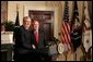 """President George W. Bush announces Stephen Johnson as his nominee for EPA Administrator in the Roosevelt Room at the White House Friday, March 4, 2005. """"He has 24 years of experience at the EPA, spanning all four decades of the agency's history,"""" said the President. White House photo by David Bohrer"""